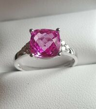 9ct white gold pink sapphire and natural diamond  cushion cut ring size M