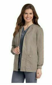 NWT Landau Essentials Women's Snap Front Scrub Jacket -7525 SAP Sandstone  Small