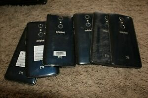 (Lot of 6) Cricket Wireless Blade X Max ZTE Z983 Blue Cell Phones -Cracked