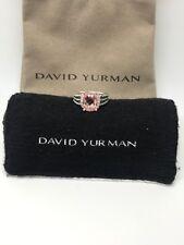 David Yurman Sterling Silver Petite Morganite & Diamond Wheaton Ring Size 5