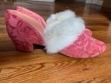 1920s Pink Satin Brocade Kitten Heel Boudoir Slippers w/Rabbit Fur Trim