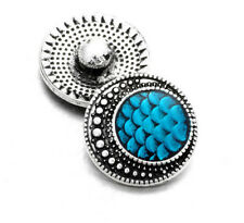 Blue Dragon Scales Button Charm for Noosa Ginger Snaps Jewelry 18mm