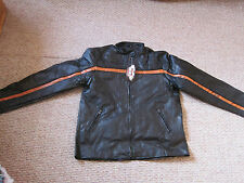 Hawg Hides Genuine Black Leather Motorcycle Jacket L zip out lining NWT