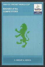 ICC 1999 CRICKET WORLD CUP OFFICIAL ICC POSTCARD - KENYA BADGE CARD