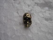 Vintage motorcycle pin biker trucker pinback HD SKULL gold and black mini