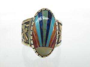 Roderick Tenorio Relios 14k Gold Sterling Stone Inlay Ring Carolyn Pollack sz 7
