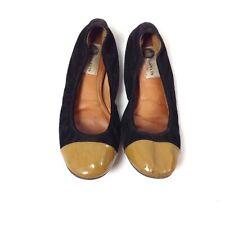 Lanvin Paris Suede Leather Ballet Flats Shoes Size 8 Black Beige Solid
