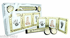 New Baby Boy Girl Present Gift Photo Frame Hand Footprints Kit 4 Set Gold Black