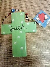 Faith a ceramic cross by Sandra Magsamen for Silvestri in early 2000s made in Ch