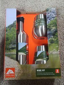 Ozark Trail 25.5oz Stainless Steel Beverage Bottle 14oz Wine Glasses 3 Pc Set