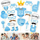 24pcs Blue Baby Shower Party Baby Bottle Masks Photo Booth Props Favor For Boy