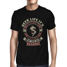 1Tee Mens Geek Life It's Like Normal Life But There Are Dragons T-Shirt
