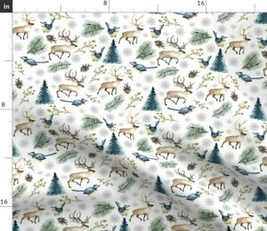 Holiday Deer Forest Woodland Winter Christmas Spoonflower Fabric by the Yard