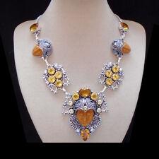 Howlith & Citrintquarz, orange, Gesicht Kette Halskette,Collier Silber plattiert
