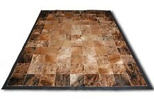 New Large Cowhide Rug Patchwork Cowskin Cow Hide Leather Carpet. Brown.