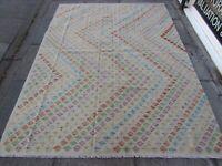 Kilim Old Traditional Hand Made Afghan Oriental Grey Wool Large Kilim 240x180cm