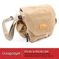 DURAGADGET Tan Brown Medium Sized Canvas Carry Bag for Pentax WG-30