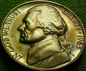 1963 Jefferson GEM PROOF 5 Cents 5c ~ WOW!! A BEAUTlFUL TONED NICKEL~  21VN