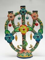 VINTAGE LARGE ATTRIB. FLORES FAMILY MEXICAN TREE OF LIFE CANDELABRA ~ 13""