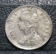 British India 1888 1/4 Rupee, Silver Coin, Calcutta Mint, Queen Victoria Empress