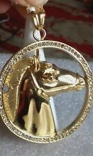 white austrian crystal horse in yellow gold overlay stainless steel pend/chain