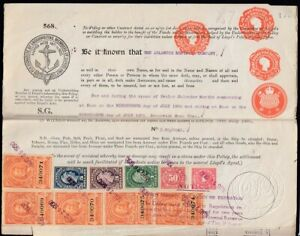 Lloyds of London Insurance with stamps on ship SS HAHIRA (sunk in WW2)