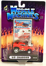 Muscle Machines CarToons Red 1969 '69 Dodge Chargre Rubber Tires 1:64 C02-06