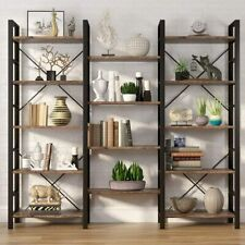 Large Rustic Triple Wide 5-Shelf Bookcase, 5 Tier Etagere Large Open Bookshelf T