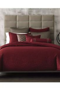 Hotel Collection Red Woven TextureF/Queen Duvet Cover,2Standard Quilt & 1St.Sham