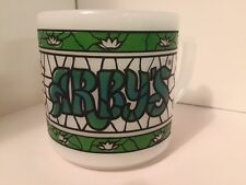 VINTAGE Federal Milk Glass ARBY'S Stained Green Glass Coffee Mug Cup HEAT PROOF