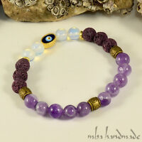 WOMEN'S AMETHYST OPAL PURPLE LAVA ROCK GEMSTONE BEADED BRACELET EVIL EYE AMULET