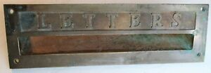 Antique Heavy Brass LETTERS Mailing Slot From Post Office 5 DAY SALE
