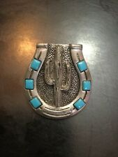 Foritt Bolo Tie Turquois & Silver Plated Bolo Tie With Horse Shoe and Cactus.
