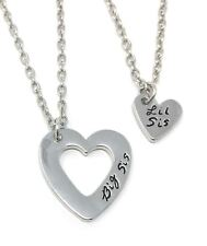925 Silver Plt 'Big Sis Lil' Heart Forever Engraved Necklace Little Sister A