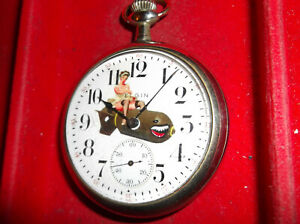 ELGIN WATCH CO 7J 16SIZE WW2 PINUP ON  DIAL 1912