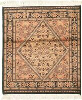 """Modern Hand-Knotted Carpet 3'2"""" x 3'4"""" Oriental Wool Area Rug"""