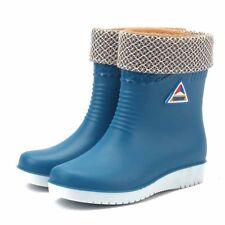 Women's Mid Calf Rain Boots Winter Warm  Waterproof Work Shoes Non-slip Fashion