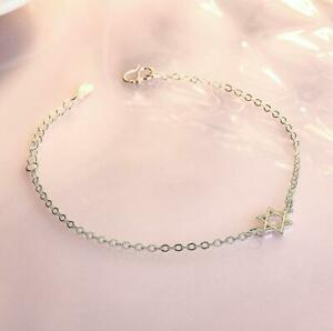 Silver Six-pointed Star Pave Cubic Zirconia Shining Chain Charm Bracelet B-N