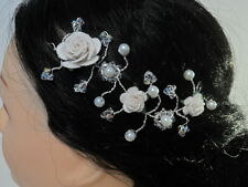 Wedding or Girls 1st  Holy Communion white roses sparkly crystal tiara hair vine