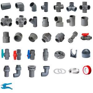 Grey PVC 40mm ID Pressure Pipe Fittings Metric Solvent Weld Various Parts