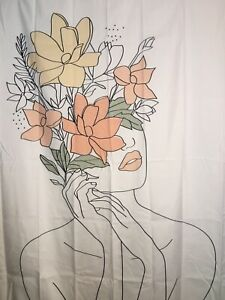 """NEW 60""""x52"""" Head Vase Flower Face Beautiful Woman Tapestry Wall Decor w/Clips #2"""