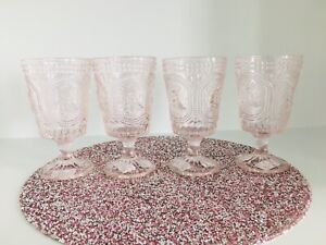 4 VINTAGE Style Pink BUNNY KNOBBY Footed Drinking Water Glasses Goblet EASTER