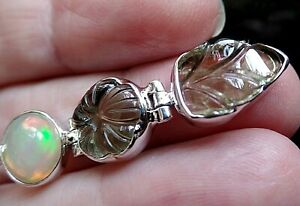Sterling Silver Tourmaline and Ethiopian Opal Hinged Pendant October Birthstones