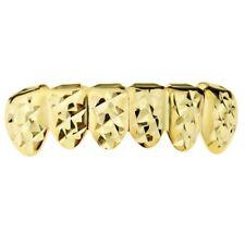 14k Gold Plated Grillz Diamond-Cut Six 6 Bottom Teeth Hip Hop Mouth Bling Grills