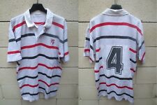Maillot rugby STADE TOULOUSAIN porté n°4 shirt collector vintage blanc rare 80's