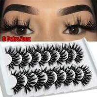 SKONHED 3D 100%Mink Hair False Eyelashes Long Wispies Fluffy Lashes 8 Pairs