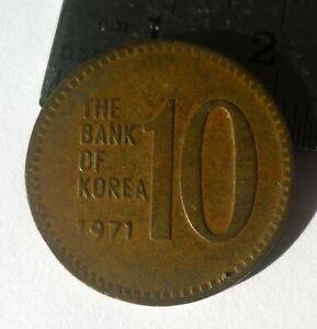 SOUTH KOREA 1971, 10 WON,COPPER BRASS  UNCLEAN 'GVF'.