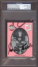 JEAN GUY TALBOT LEGEND CARD MONTREAL CANADIENS AUTOGRAPH AUTO SIGNED PSA DNA