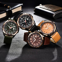 Mens Sport Black Brown Faux Leather Date Automatic Mechanical Army .Wrist Gift