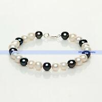 8 inch 8-9mm Freshwater Pearl Bracelet w/ Silver Clasp | FSUS